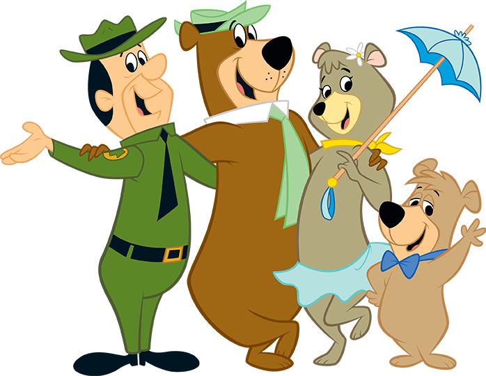 yogi bear, boo boo, cindy bear and ranger smith